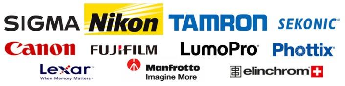 Canon, Nikon, Tamron, Sigma, LumoPro, Phottix, Elinchrom, Sekonic, Lexar, Manfrotto, FujiFilm